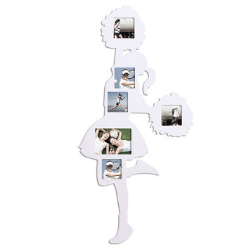 "Adeco Decorative White Cheerleader Wall Hanging Collage Picture Photo Frame, 6 Openings, 4x4"", 5x7"""