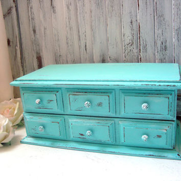 Aqua Vintage Jewelry Box, Teal Wooden Jewelry Holder, Cottage Chic Aqua Jewelry Chest, Beach Chic Jewelry Holder, Shabby Chic Jewelry Box