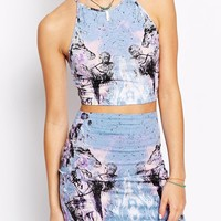 Motel Kimmy & Folly Crop Top and Skirt Set in Cosmic Boogie Print