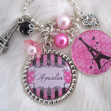 Personalized PARIS EIFFEL TOWER Bottle cap Charm Pendant Necklace, Mom Teen Tween Jewelry Children, Gift Present, Mother Shabby chic