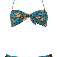 Turquoise Vintage Floral Bikini - New In - Topshop USA