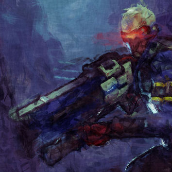 Overwatch Poster. Overwatch Soldier 76 Painting Print. Mounted Canvas available on request details in Listing