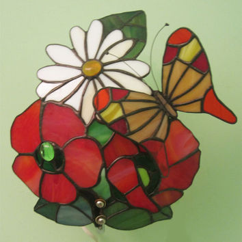 Stained glass lamp.Lamp on the wall.Tiffany style.Handmade glass. Flowers and Butterfly.Poppies and chamomile.