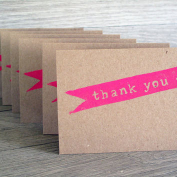 Thank You Cards Set of 6 Kraft Paper by LetterKay on Etsy