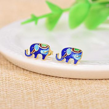 7x12mm Cloisonne exquisite small elephant cute stud earrings for women ethnic style gold/silver plated earrings jewelry Y0605