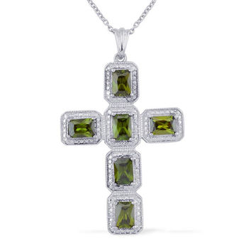Lab Created Emerald Cross Pendant in Platinum Bond Brass With 20 inch Stainless Steel Chain