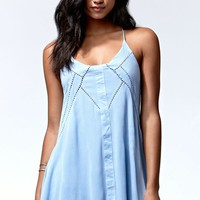 Tiger Mist Follow Me Crochet Inset Racerback Dress - Womens Dress - Blue