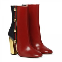 GUCCI Carly red and blue ankle boots