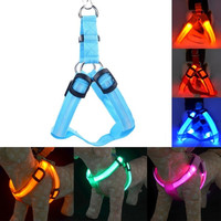LED Nylon Pet Dog Cat Collar Peppy Dog Led Flashing Light Harness Collar Pet Safety Led Leash Rope Belt = 1714478276