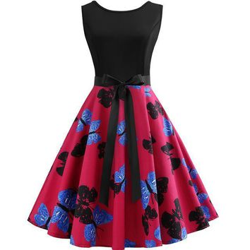 Blue-Black Butterfly Pink Dress