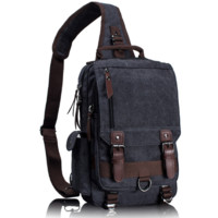 Unisex Vegan Leather Canvas Backpack