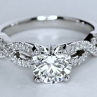 1.74ct Round Diamond Engagement  ring F-VS1 Platinum Infinit Twist GIA certified JEWELFORME BLUE