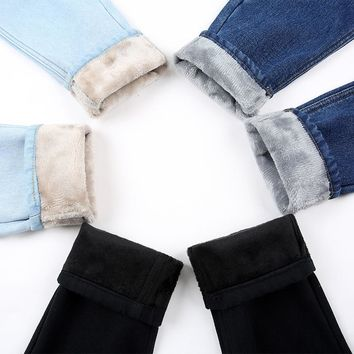 New Plus Velvet Thicker Women Jeans Warm High Waist Trousers Cowboy Pants Loose Denim Jeans Pants Winter Harem Pants Jeans