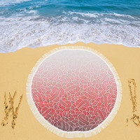 """Ombre red and white swirls doodles Circular Beach Shawl 59""""x 59"""" 