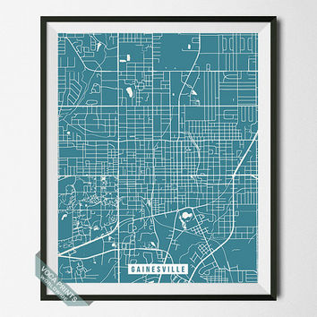 Gainesville Print, Florida Map Poster, Gainesville Street Map, Florida Print, Wall Art, Home Decor, Wall Decor, Office Decor, Back To School