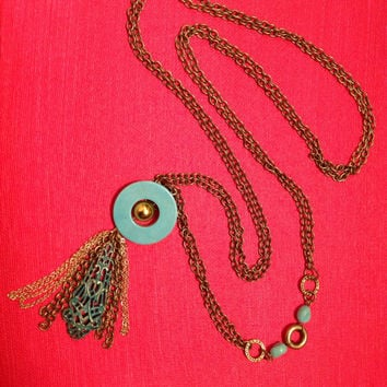Bronze and turquoise necklace // fringe necklace // long necklace // vintage style necklace // handmade
