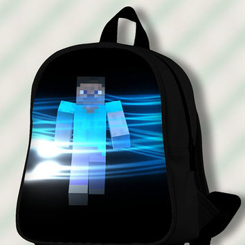 Minecraft Blue Light - Custom SchoolBags/Backpack for Kids.