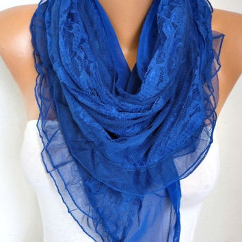 Royal Blue Lace Scarf Shawl Summer Scarf Bridal Accessories Bridesmaid Gifts Gift Ideas For Her Women Fashion Accessories Xmas in July
