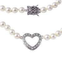 Sterling Silver Open Heart Pearl Necklace