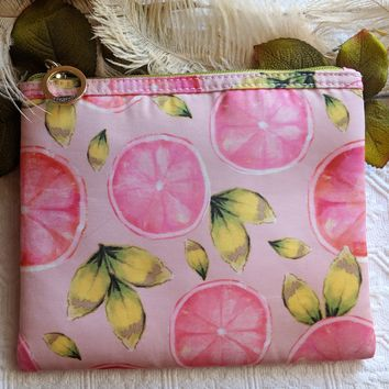 Contents by Allegro Pink Grapefruit Cosmetic Makeup Travel Bag Pouch
