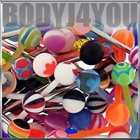 Lot of 20 Assorted Flexible Acrylic & Surgical Steel Barbell Tongue Rings 14 Gauge (20 Pack) In Assorted Colors