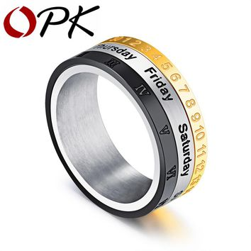 OPK Punk Men 's Spinner Ring Date Number & Roman Numeral & Day 3 In 1 Design Rotatable Stainless Steel Band For Boy GJ518