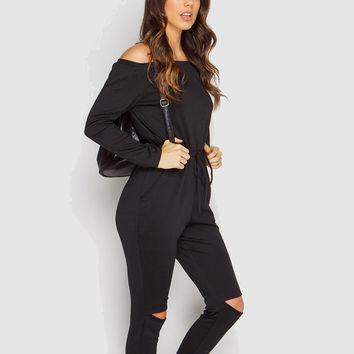 4 Color New Rompers Womens Jumpsuit 2016 Sexy Off Shoulder Long Sleeve Autumn Drawstring Waist Holes Cut Out Playsuits Overalls