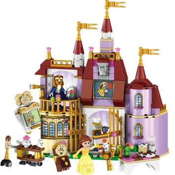 37001 Beauty And The Beast Princess Belle's Enchanted Castle Building Blocks Set Girl Friends Kids Toys Compatible With Legoing