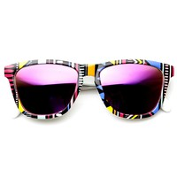 Indie Native Print Flash Mirrored Lens Horned Rim Sunglasses 9378