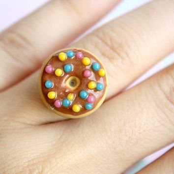 Sprinkle Donut Miniature Ring   Kawaii Polymer Clay Jewelry Food Miniature Jewelry