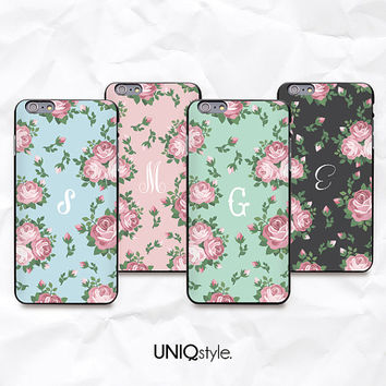 Personalized pastel color floral case with custom initial - iPhone 6, iPhone 4/4s/5/5s/5c, Samsung S4, S5, Note 4 - mint pink flower - N46