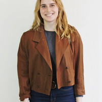 Vintage 80s Brown Cropped Lightweight Blazer Jacket // Size Small to Medium