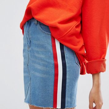 Daisy Street Mini Skirt In Denim With Sports Side Stripe at asos.com