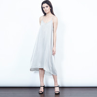 Silk Wash Slip Dress (Silver)