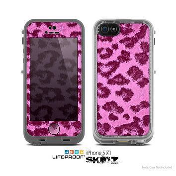 The Neon Pink Cheetah Animal Print Skin for the Apple iPhone 5c LifeProof Case