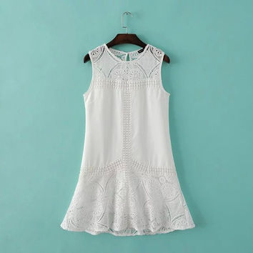 Stylish Round-neck Sleeveless Hollow Out Lace Women's Fashion Vest Dress One Piece Dress [4918643332]