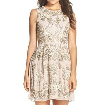 Needle & Thread 'Etch' Embellished Georgette Fit & Flare Dress | Nordstrom