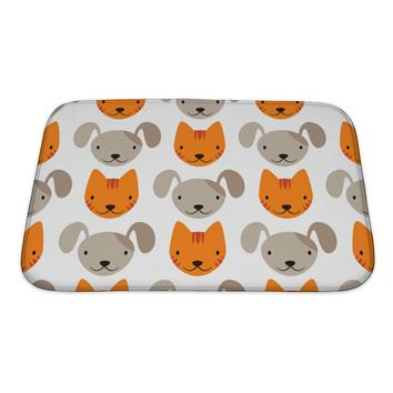 Bath Mat, Pattern With Cats And Dogs