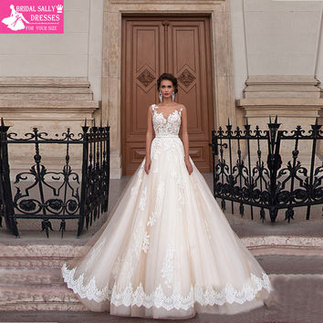 New Arrival Sexy A-Line Lace Vintage Wedding Dress 2017 Romantic Robe De Mariage Vestido De Noiva Renda Sheer Back WJEN3