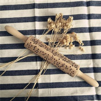 Engraved Wooden Rolling Pin with Musical Notes