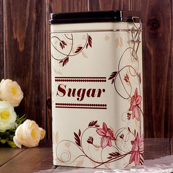 Large Sealed Beige Flower Sugar Kitchen Coffee Tea Jar Tin Metal Home Decor