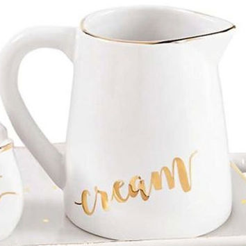 White and Gold Cream Pitcher