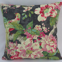"""Tropical Birds and Flowers Pillow, Waverly Floral Engagement in Nightfall, 17"""" Cotton Square, Black Green Pink Fuchsia Turquoise"""