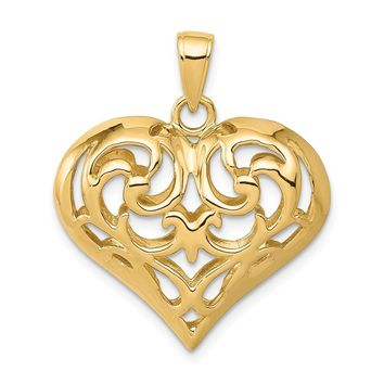 14K Yellow Gold 3-D Diamond Cut Open Filigree Heart Pendant