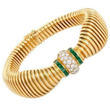 Cartier Diamond and Emerald Yellow Gold Bracelet