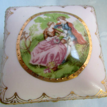 Antique Porcelain Hand Painted Limoges Footed Jewelry Trinket Box French Country Style