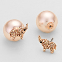 Elephant Double Stud Pearl Earrings