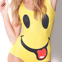 Cute Cartoon Smiling Face Print One-Piece Swimwear Bathing Suit