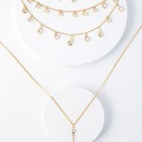 Long Lost Love Gold Rhinestone Layered Necklace