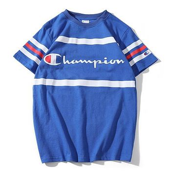 Champion Spring Summer Trending Women Men Casual Short Sleeve Round Collar Lovers T-Shirt Top Blue I12047-1